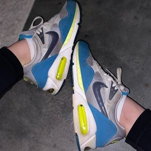 Neon green and blue nike air max sneakers vintage
